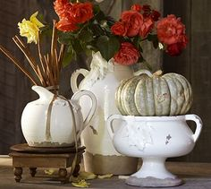 Pottery Barn Harvest Leaf Vase, Bowl & Pitcher.  Their Fall decor never disappoints.