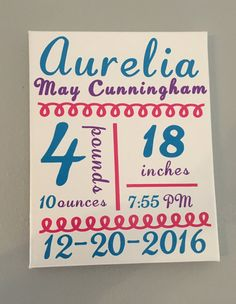 Birth Announcement by TheCraftyOwl1Co on Etsy
