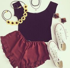 Image via We Heart It https://weheartit.com/entry/175643646 #allstar #black #clothing #converse #fashion #flowers #jewels #outfit #redshorts #shoes #spring #style #summer #sunnies #top #white #croptop #ootd #flowypants