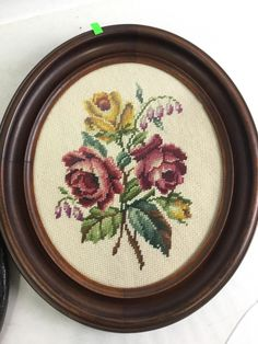 Antique Oval Framed Portrait & Vintage Needlework