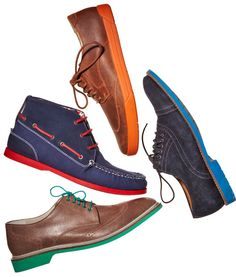 Shoes With Color... Intriguing... Especially the Wingtops with the Green Sole.