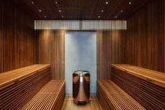 The Sauna in Studio Furellen in Sweden was built by AQ Arkitekter, a Concrete and Corten Steel House with Hydraulic Adjustable Terraces and great interiors Home Spa Room, Spa Rooms, Sauna House, Sauna Room, Saunas, Spa Design, House Design, Sauna Lights, Contemporary Leather Sofa
