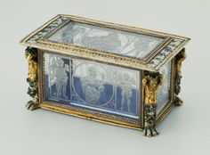 Italian  Rock Crystal Casket, first half of the 16th century  Plaques: rock crystal; mount: enamel and gold