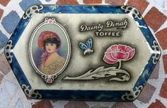 George W Horner, shaped Dainty Dinah Toffee Tin with portrait, poppy and butterfly, Co Durham England, by Tinternet on Etsy