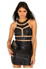 Leah Sequin Mesh Panelled Mini Dress In Black