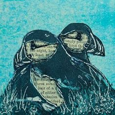 Louise Worthy 'Double Take' Ink Monoprint with chine collé