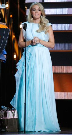 Out of the Blue from Carrie Underwood's Pregnancy Style The singer picks this delicate Christian Siriano gown for another flawless wardrobe change.