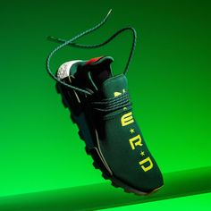"Releasing exclusively at the Billionaire Boys Club flagship shop in NYC, this highly limited adidas NMD Hu sports a special ""N*E*R*D"" makeup for those who count ""In Search Of…"" as one of their favorite albums. Popular Sneakers, Latest Sneakers, Sneakers For Sale, Sneakers Fashion, Human Race Shoes, Adidas Human Race, Adidas Trail, Adidas Men, Adidas Sneakers"