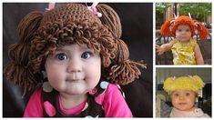 How cute are these babies dressed up as cabbage patch dolls. I cabbage patch dolls. Did you have one as a child? Crochet Diy, Cabbage Patch Kids, Knitting For Kids, Crochet For Kids, Knitted Hats, Crochet Hats, Wig Hat, Hat Hair, Kids Inspire