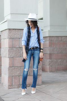 How to wear shades of blue. Distressed denim jeans. White high heel pumps. White fedora hat. Windowpane scarf.