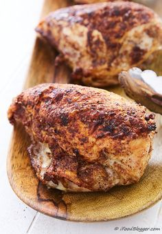 Crispy-skinned, tender and juicy oven roasted bone-in chicken breast. Very easy to make and perfect every time.