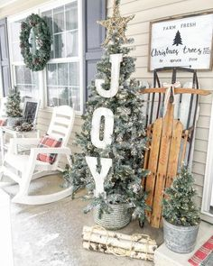Feels like a winter wonderland here and I think it's so beautiful! We are headed to take the boys to see Thomas the train today at the… Farmhouse Christmas Decor, Outdoor Christmas Decorations, Country Christmas, Outdoor Decor, Primitive Christmas, Holiday Decor, Noel Christmas, Winter Christmas, Christmas Crafts