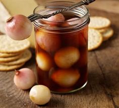 Preserved Shallots in Malt Vinegar - a slight twist in the classic British pickled onions, with cheese.