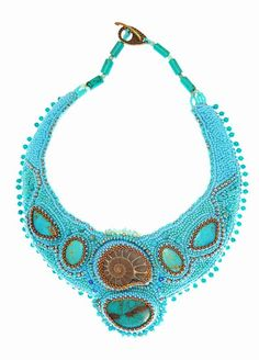 SALE Turquoise Beadwork Necklace-Embroidered Necklace  - boho necklace  Beadwork Necklace-Embroidered Necklace with Turquoise
