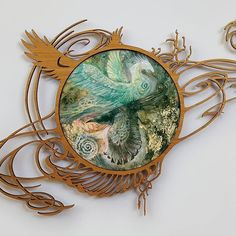 "From my Flow series: ""Divergent"" . Www.shadowscapes.com . Www.patreon.com/StephanieLaw . #art_resin #lasercut #artresin #watercolor #painting #goldleaf @art_resin @ponokogram #phoenix #mythical #myth #mythology #raven #birds"