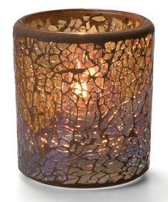 GOLD CRACKLE GLASS VOTIVE LAMP