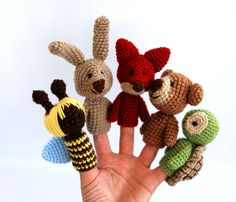 5 animal finger puppets, crocheted bee, bear, fox, bunny or rabbit, turtle, playing fairy tail, waldorf gift for children, multicolour. $38.00, via Etsy.