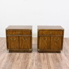 """This pair of """"Drexel Heritage"""" nightstands are featured in a solid wood wth a glossy walnut finish. These end tables are in great condition with 1 drawer, a large interior cabinet and shiny brass hardware. Perfect bed side tables with tons of storage space! #traditional #dressers #nightstand #sandiegovintage #vintagefurniture"""