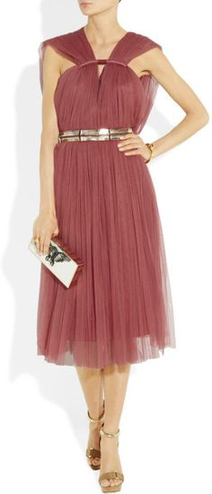 Lanvin Pleated silk-blend tulle dress