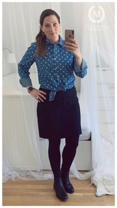 • Denim Polka Dot Shirt: KappAhl • Black Wool Skirt: Etam • Boots: Tamaris Polka Dot Shirt, Polka Dots, Putting Outfits Together, Colorful Cakes, Wool Skirts, Black Wool, My Wardrobe, Photo And Video, Denim