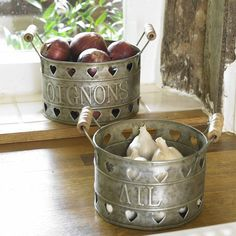 Are you interested in our Gifts for her Set of Two Zinc Storage Buckets? With our baskets wooden kitchen store buckets garden farm yard shallots you need look no further. Rustic Kitchen Decor, Wooden Kitchen, Rustic Decor, Country Kitchen Accessories, Home Accessories, Storage Buckets, Metal Buckets, Galvanized Buckets, Storage Containers