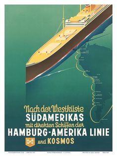 Hamburg America Line: HAPAG Nach der Westküste Südamerikas, c.1930s Prints by Ottomar Anton at AllPosters.com