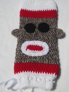 Sock Monkey Crochet Plastic Bag Holder by crochetedbycharlene, $17.00