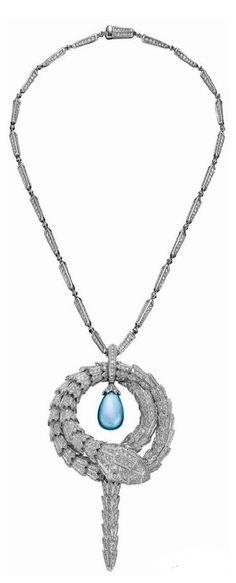 The Bulgari Serpenti necklace featuring a diamond encrusted serpent encircling a single aquamarine Old Jewelry, Pendant Jewelry, Fine Jewelry, Pendant Necklace, Jewellery, Bvlgari Accessories, Jewelry Accessories, Miss And Ms, Turquoise Necklace