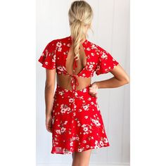 Available Sizes :S;XL Bust(cm) Waist(cm) Length(cm) Type :Slim Material :Polyester Color :Red Decoration :Cut Out, Tie Back Pattern :Floral Collar :Collarless Length Style :Above Knee Sleeve Length :Short Sleeve Beach Wear Dresses, Dress Picture, Summer Dresses For Women, Women's Fashion Dresses, Floral Prints, Short Sleeve Dresses, Clothes For Women, Color Red, Slim