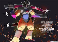 Based on Jetstream Sam from MGR:R: [link] ---------- Luscyedge (Lucario/Scyther/Honedge) Steel/Fighting/Bug Classification: Jetstream FUSEmon Client: Sp.E Corp Special: Luscyedge Pokemon Fusion Art, Pokemon Mix, Pokemon Breeds, Pokemon Rules, Metal Gear Rising, Nerd Geek, Digimon, Easy Drawings, Dreams