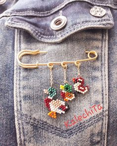 Beaded Brooch, Brooch Pin, Brick Stitch, Bangles, Bracelets, Bead Earrings, Belly Button Rings, Projects To Try, Cross Stitch