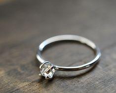 Sterling Silver Herkimer Ring. April Birthstone. Minimal Delicate Promise Ring. Raw Diamond Quartz Ring. Herkimer Quartz Everyday Jewelry