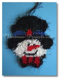 snowman ornament - plastic canvas