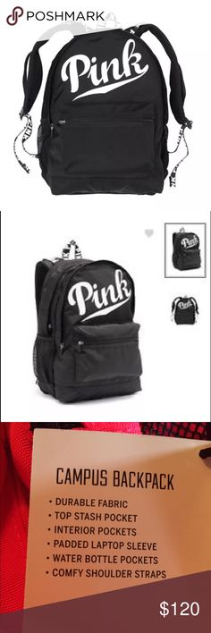 VS PINK Campus Backpack AUTH BrandNew w tags BLK 💖VS -Victoria's Secret PINK Campus Backpack AUTH BrandNew w tags BLK 🔻🔻Color in this Listing is Black🔻🔻  ⭐️⭐️NOW SOLD OUT EVERYWHERE , online and instores, 🌺purchased at VS STORE in mall⭐️⭐️. This color is somewhat RARE, 🍭in super high demand, and is priced accordingly.🍔Ty for looking.  🐝Other colors listed in sep listings.  ❌no trades ✅BUY IT NOW FOR $120. 💜💜PLEASE SUBMIT ANY OFFERS W OFFER BUTTON. 💖💖ty, you have a fantastic day…