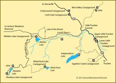 map of campgrounds along the Little Truckee River, CA