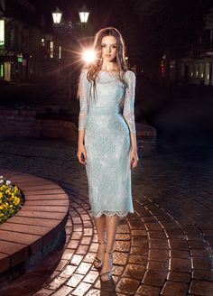 Accentuate the waist and hips in this baby blue lace dress #longsleevedress #promdress #promseason