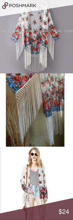 Fun Multi-Fringe Floral Loose Long Kimono Beautiful floral print kimono features long fringe all the way down the 3/4 sleeves and along the bottom.  So cute!  We ship fast... Typically every day!  (G) Tops Tunics