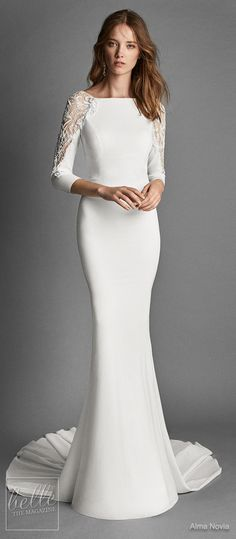 Simple Wedding Dresses Inspired by Meghan Markle | Long sleeve wedding Dress by Alma Novia | Royal wedding bridal gown #weddingdress #weddingdresses #bridalgown #bridal #bridalgowns #weddinggown #bridetobe #weddings #bride #weddinginspiration #dreamdress #fashionista #weddingideas #bridalcollection #bridaldress #fashion #dress See more gorgeous bridal gowns by clicking on the photo