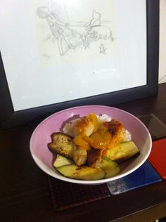 Slow cooked apricot chicken served with grilled eggplant and zucchini.