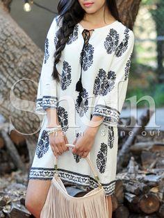 White Long Sleeve Floral Print Dress 9.99