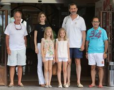 King Felipe VI of Spain, Queen Letizia of Spain and their daugthers Princess Leonor of Spain (L) and Princess Sofia of Spain (R) arrive at the Royal Nautical Club during the last day of 34th Copa del Rey Mapfre Sailing Cup on August 8, 2015 in Palma de Mallorca, Spain.