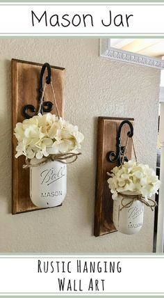 Hand painted mason jar floral rustic wall hangings | Farmhouse country decor | Country Home and Heart #Affiliate #Rustic #Decor