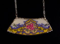 Broken china jewelry necklace made from a broken plate by Dishfunctional Designs