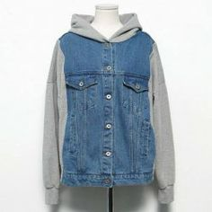 $14.46 Denim Splicing Cotton Blend Casual Style Hooded Long Sleeves Coat For Women