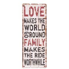 Cedule LOVE MAKES THE WORLD GO ROUND. Cena: 495 Kc. Nakupujte na www.almara-shop.cz.
