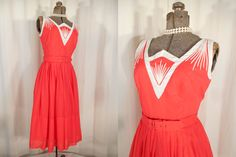 Vintage 1950s Dress / Movie Star 50s Bright Strawberry Red Pink Day Dress / Small High Waist Bombshell New Look Dress by RockabillyRavenVtg on Etsy