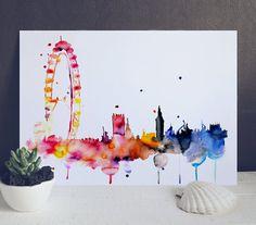 London Eye Watercolor Painting  Watercolor Print por WatercolorMary