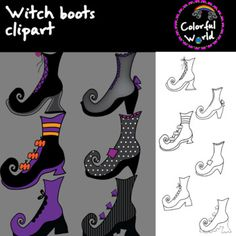 This witch boots set includes 12 images, 6 colored and 6 b&w, high resolution, png format This set can be purchased in a bundle at a discounted price here. Witch Boots, 12 Image, Clip Art, Color, Colour, Pictures, Colors