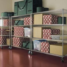 frontgate Oversized Chrome Four-Tier Shelf with Liners