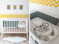 La chambre bébé de Zoé - déco, baby, cute, baby room, chambre bébé, lit bébé, jaune, gris